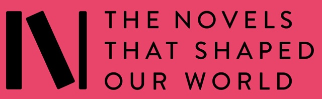 Pink logo with text: the novels that shaped our world