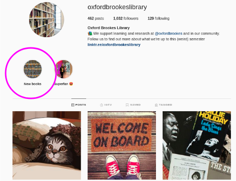 Instagram profile of @Oxfordbrookeslibrary with new book highlight circled