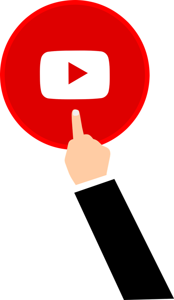 An illustrated finger clicking on the YouTube logo