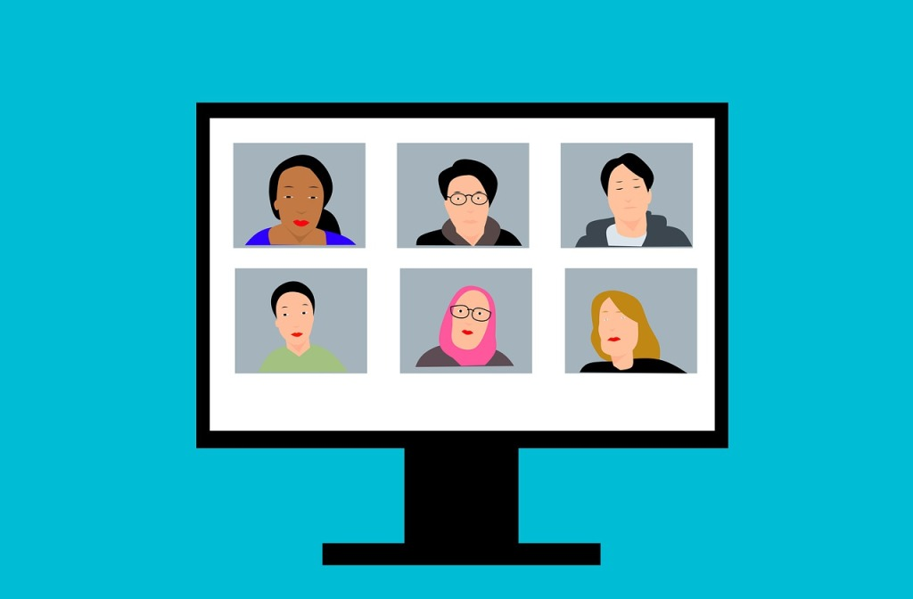 Illustration of a computer monitor on a blue blackground. On the monitor, six faces are in an online meeting