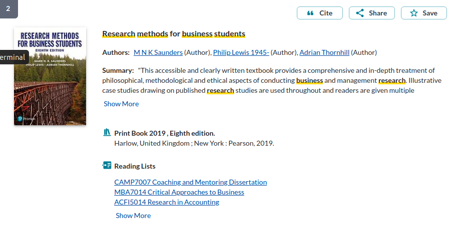Item details of a book on research methods. It lists three reading lists that the book is on, with the option to see further reading lists by clicking on 'show more'