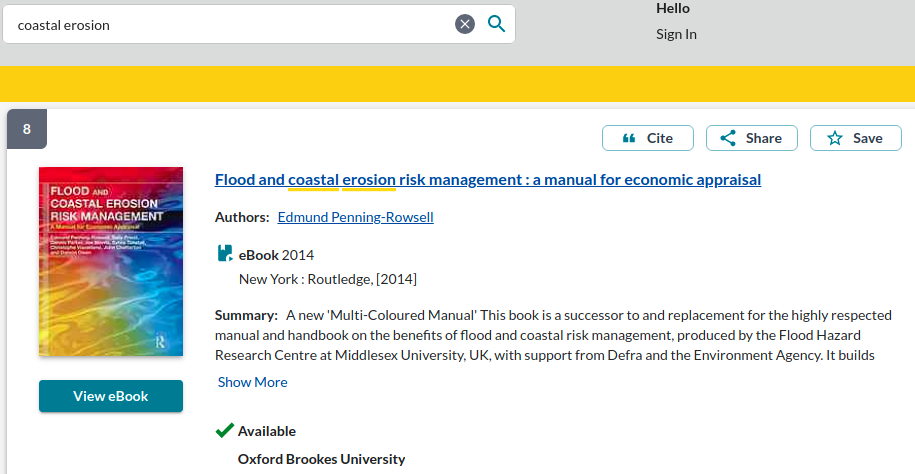 Screenshot of item details of a book called Flood and coastal erosion risk management: a manual for economic appraisal. The search words coastal and erosion are underlined in yellow.