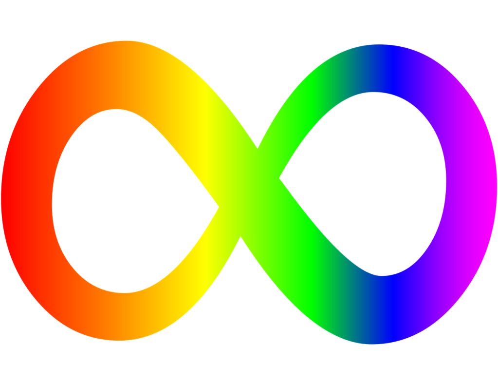 The rainbow-colored infinity symbol, which represents the diversity of the autism spectrum